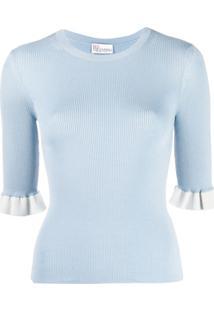 Redvalentino Blusa De Tricô Com Babados - Azul