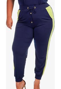 Calã§A Plus Size Jogging Bicolor - Azul Marinho - Feminino - Poliã©Ster - Dafiti