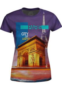 Camiseta Estampada Baby Look Over Fame Paris Roxo