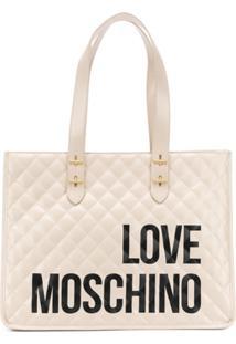 Love Moschino Bolsa Tote Matelassê Com Logo - Neutro