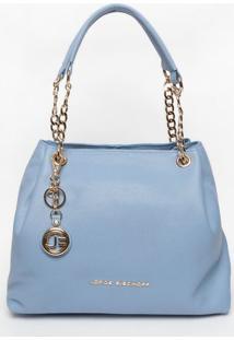 Bolsa Em Couro Com Bag Charm- Azul Claro- 23X45X11Cmjorge Bischoff