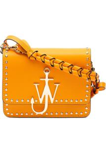 Jw Anderson Bolsa Transversal Com Logo E Tachas - Laranja