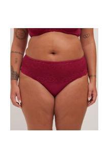 Calcinha Alta Lisa Com Renda Curve & Plus Size | Ashua Curve E Plus Size | Vermelho | 52