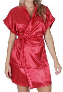 Robe Click Chique Manga Curta Cetim Liso Com Amarradura Vermelho