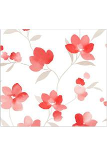Papel De Parede Floral Vermelho, Branco E Cinza Allegra Vinílico 53Cm X 10M Muresco