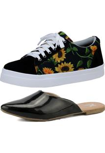 Kit Sapatilha Mule E Tênis Estampado Mr. Gutt Casual Preto