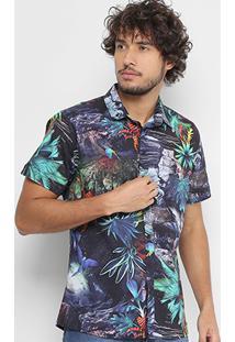 Camisa Coca-Cola Manga Curta Estampa Floral Masculina - Masculino-Preto+Verde
