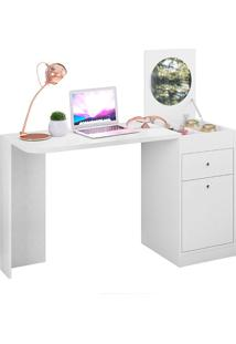 Mesa Para Computador Multifuncional Com 2 Portas E 1 Gaveta Desejo – Móveis Albatroz - Branco