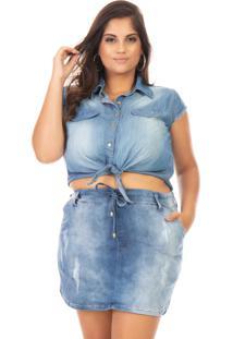 Camisa Feminina Jeans Cropped Com Amarraçáo - Tricae