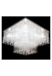 Lustre De Cristal E Vidro Com Base Em Aço Inox Polido Square Para 9 Lâmpadas G9 - Jp-Square-45