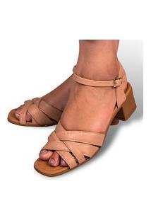 Sandália Feminina Salto Grosso Bico Redondo Leve Confortável Nude Eleganteria