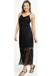 Vestido Feminino Longo Tule Alças Finas Marisa