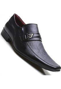 Sapato Social Masculino Em Couro Bico Quadrado Pierutti Preto - Masculino-Preto