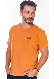 Camiseta Hiatto Estampada Manga Curta Masculina - Masculino-Laranja