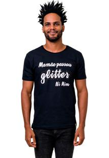 Camiseta Manga Curta Dom Romeu Glitter Preto