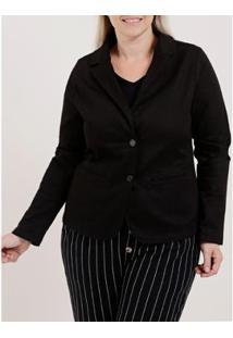 Blazer Plus Size Feminino - Feminino-Preto