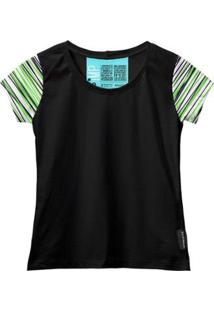 Camiseta Baby Look Feminina Algodão Listrada Manga Curta - Feminino-Verde+Preto