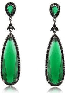 Brinco Luxo Com Duas Gota Em Pedra Cristal Verde Esmeralda Banhado Em Ródio Negro