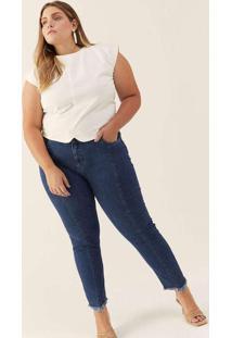 Calça Almaria Plus Size Izzat Super Skinny Azul