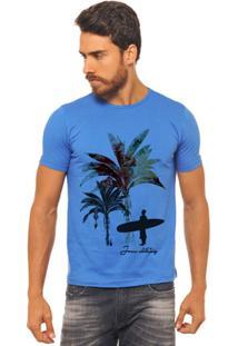 Camiseta Joss - Palmeira Color - Masculina - Masculino-Azul
