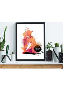 Quadro Decorativo Com Moldura Mã£E Aquarela Preto - 20X25Cm - Multicolorido - Dafiti