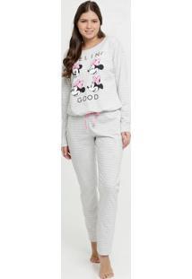 Pijama Feminino Listrado Estampa Minnie Manga Longa Disney