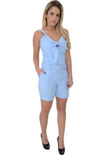 Blusa Mamorena Alça Com Laço Frente Azul