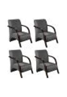 Conjunto De 4 Poltronas Sevilha Decorativa Braço De Madeira Cadeira Para Recepção, Sala Estar Tv Espera, Escritório, Vários Ambientes - Suede Cinza Grafite