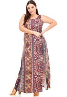 Vestido Melinde Plus Size Estampado Longo Fenda - Feminino-Azul