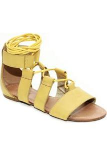 Sandália Top Franca Shoes Gladiadora - Feminino-Amarelo