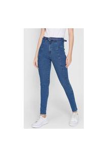 Calça Jeans Enfim Jegging Recortes Azul
