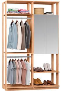 Guarda-Roupa Solteiro Modulado Clothes Com Espelho 2 Pt Carvalho Mel