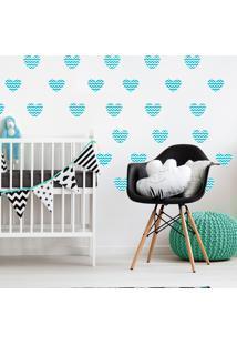 Adesivo De Parede Quartinhos Infantil Coração Azul Chevron