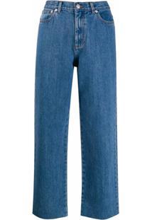 A.P.C. Calça Jeans Reta Cropped - Azul