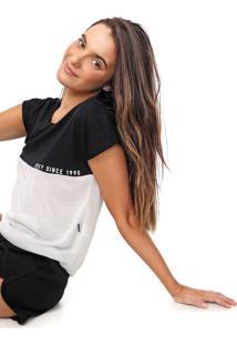 Camiseta Roxy Part Time Preta/Off-White