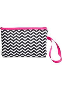 Necessaire Clássica Em Neoprene Tritengo Zig Zag White - Feminino-Preto+Pink