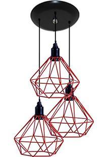 Luminaria Aramado Modelo Diamante - 03 Juntos Na Mesma Canopla Vermelho