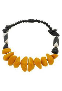 Maxi Colar Com Pedras Amarelas E Pretas