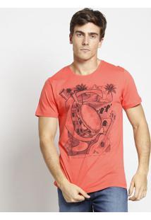 "Camiseta ""Pandeiro""- Coral & Preta- Coca-Colacoca-Cola"
