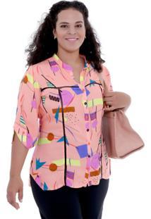 Camisa Rosa Martina Ajhur Plus Size Vickttoria Vick Plus Size Laranja