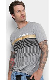 Camiseta Gangster Listrada Manga Curta Masculina - Masculino