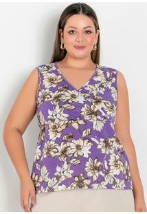 Blusa Floral Com Transpasse E Peplum Plus Size