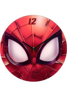 Relógio De Parede Em Vidro Redondo Homem Aranha 30Cm Vermelho