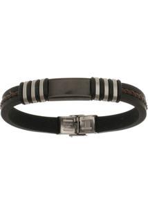 Bracelete De Aço Inox Tudo Joias Black Com Silicone 11Mm De Largura - Unissex-Preto