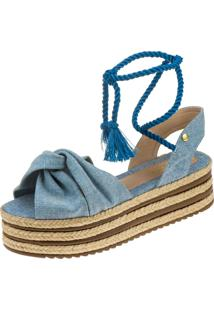 Sandália Sola Alta 3 Cordas Feminina Plataforma Juta Domidona 134.02.031 - Jeans Azul
