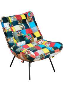 Poltrona Decorativa Sala De Estar Costela Patchwork - Lyam Decor