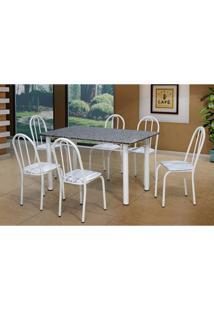 Conjunto De Mesa Sara Com 6 Cadeiras Branca Linho