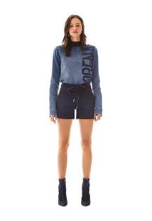 Bermuda Comfort Com Amarracao Jeans