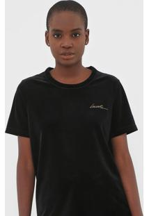 Camiseta Lacoste Veludo Preta
