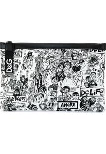 Dolce & Gabbana Printed Graffiti Pouch - Preto